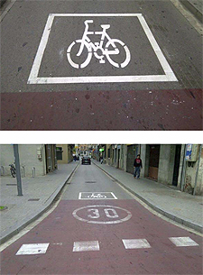Even with a sign, the path needs paint markings that designate it as a bicycle lane. Saves everyone the trouble.