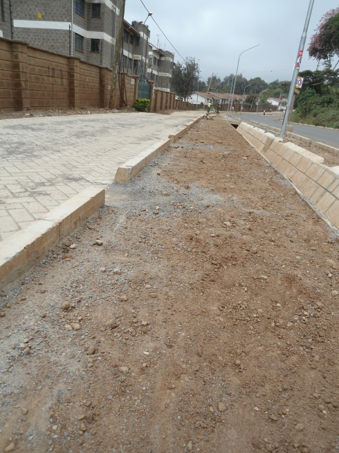 Step one in the making of a Nairobi cycle path along Kileleshwa Ring Road