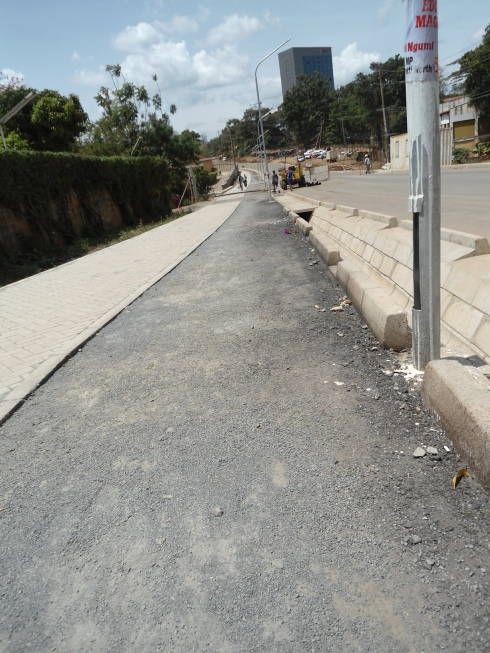 A finished cycle path on Kileleshwa Ring Road approaching Raptor Road