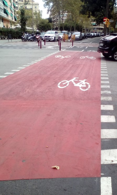 A properly marked cycle crossing that gives priority to cyclists. Decongesting by design. Photo Credit - Ann Keih