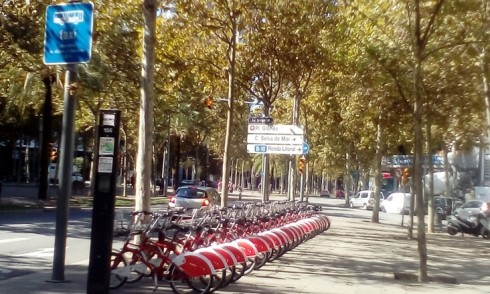 A bicycle share docking station in Barcelona. Photo Credit - Ann Keih